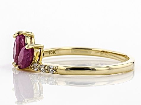 Red Ruby 10k Yellow Gold Ring .86ctw