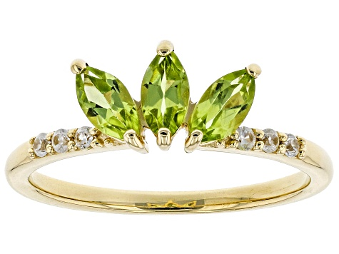 Green Peridot 10k Yellow Gold Ring .76ctw