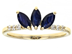 Blue Sapphire 10k Yellow Gold Ring .86ctw