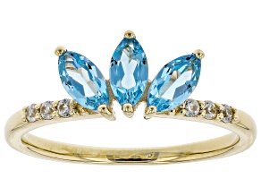 Swiss Blue Topaz 10k Yellow Gold Ring .73ctw
