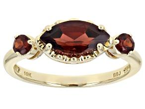 Red Garnet 10k Yellow Gold 3-Stone Ring 1.31ctw
