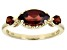 Red Garnet 10k Yellow Gold 3-Stone Ring 1.31ctw