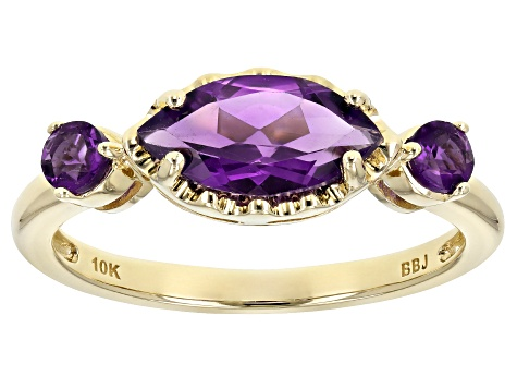 Purple Amethyst 10k Yellow Gold 3-Stone Ring .96ctw