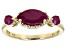Red Ruby 10k Yellow Gold 3-Stone Ring 1.22ctw