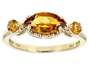 Yellow Citrine 10k Yellow Gold 3-Stone Ring 1.02ctw