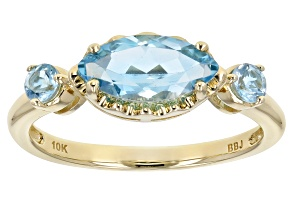 Swiss Blue Topaz 10k Yellow Gold 3-Stone Ring 1.33ctw