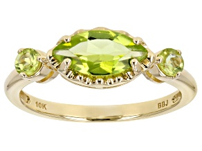 Green Peridot 10k Yellow Gold 3-Stone Ring 1.07ctw