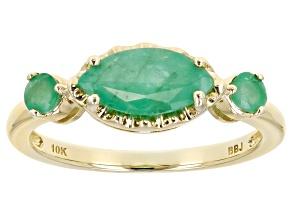 Green Sakota Emerald 10k Yellow Gold 3-Stone Ring .89ctw