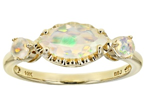 Multi Color Ethiopian Opal 10k Yellow Gold 3-Stone Ring