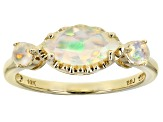White Ethiopian Opal 10k Yellow Gold 3-Stone Ring