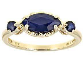 Blue Sapphire 10k Yellow Gold 3-Stone Ring 1.24ctw
