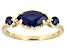 Blue Sapphire 10k Yellow Gold 3-Stone Ring 1.24ctw