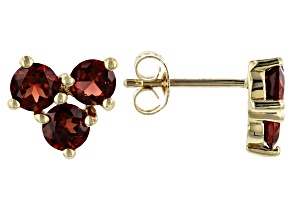 Red Garnet 10k Yellow Gold Stud Earrings 1.73ctw