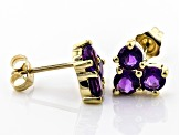 Purple African Amethyst 10k Yellow Gold Stud Earrings 1.28ctw