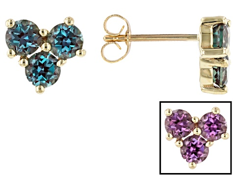Blue Lab Created Alexandrite 10k Yellow Gold Stud Earrings 1 64ctw