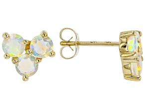 Multi-Color Opal 10k Yellow Gold Stud Earrings 1.11ctw