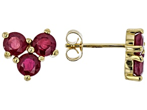 Red Mahaleo® Ruby 10k Yellow Gold Stud Earrings 1.68ctw