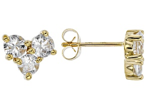 White Zircon 10k Yellow Gold Stud Earrings 1.63ctw