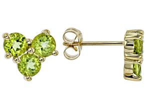 Green Peridot 10k Yellow Gold Stud Earrings 1.43ctw