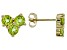 Green Peridot 10k Yellow Gold Stud Earrings 1.43ctw