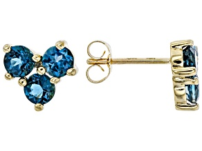 London Blue Topaz 10k Yellow Gold Stud Earrings 1.17ctw