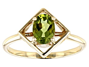 Green Peridot 10k Yellow Gold Ring .72ct