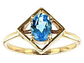 Swiss Blue Topaz 10k Yellow Gold Ring .97ct