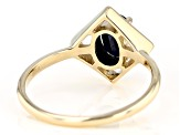 Blue Sapphire Solitaire 10k Yellow Gold Ring .81ct