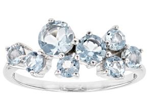 Blue Aquamarine Rhodium Over 10k White Gold Ring 1.06ctw