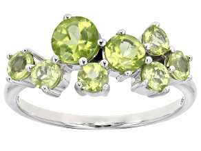 Green Peridot Rhodium Over 10k White Gold Ring 1.72ctw