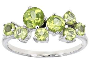Green Peridot Rhodium Over 10k White Gold Ring 1.73ctw