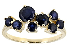 Blue Sapphire 10k Yellow Gold Band Ring 1.57ctw