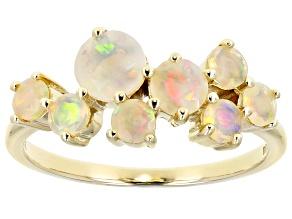 White Opal 10k Yellow Gold Band Ring