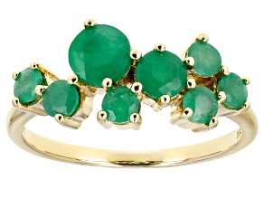 Green Emerald 10k Yellow Gold Band Ring 1.18ctw