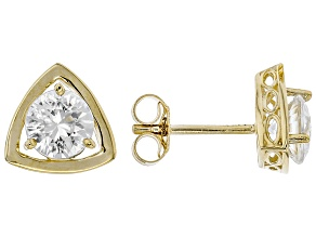 White Zircon 10k Yellow Gold Stud Earrings 2.13ctw