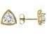 White Zircon 10k Yellow Gold Stud Earrings 2.13ctw