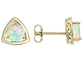 Multi Color Ethiopian Opal 10k Yellow Gold Stud Earrings .94ct