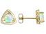 Multi Color Ethiopian Opal 10k Yellow Gold Stud Earrings .94ct