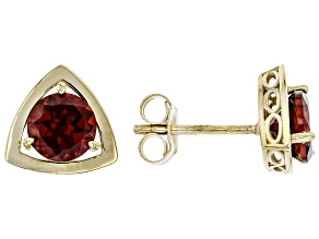 Red Garnet 10k Yellow Gold Stud Earrings 1.74ctw