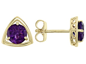 Purple Amethyst 10k Yellow Gold Stud Earrings 1.22ctw