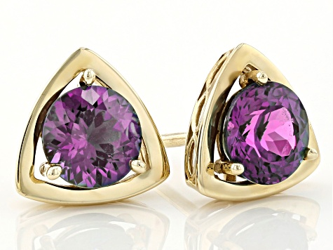Teal Lab Created Alexandrite 10k Yellow Gold Stud Earrings 1.80ctw