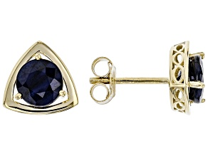 Blue Sapphire 10k Yellow Gold Stud Earrings 2.02ctw