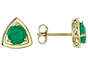 Green Sakota Emerald 10k Yellow Gold Stud Earrings 1.19ctw