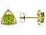 Green Peridot 10k Yellow Gold Stud Earrings 1.57ctw