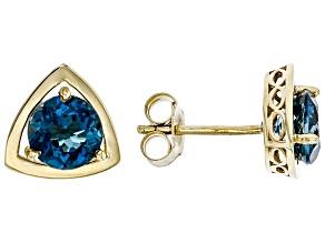 London Blue Topaz 10k Yellow Gold Stud Earrings 1.80ctw