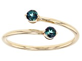 Teal Lab Created Alexandrite 10k Yellow Gold Bypass Ring .24ctw
