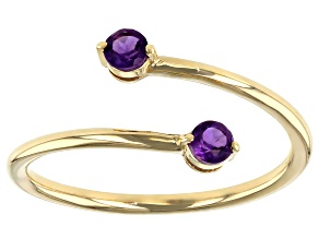 Purple Amethyst 10k Yellow Gold Bypass Ring .17ctw