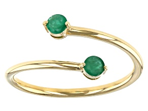Green Emerald 10k Yellow Gold Bypass Ring .19ctw