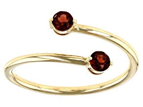Red Garnet 10k Yellow Gold Bypass Ring .22ctw