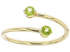 Green Peridot 10k Yellow Gold Bypass Ring .22ctw